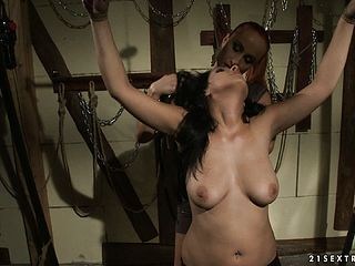 Pretty Dark Haired Corded In Straps Is Taunted By Her Spectacular Dominatrix