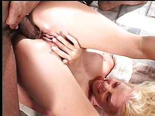 Tight-bodied Light Haired Likes Juggling On A Phat Dark Hued Nail Stick