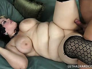 Chunky Stunner In Fishnet Tights Likes To Fellate Large Prick And To Get Pulverized Firm