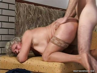 Enticing Plus Size Grandma In Pantyhose Humps A Solid Cigar On Top