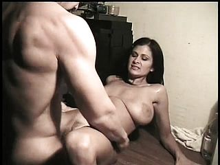 Huge Titted Dark Haired Stretches Her Lengthy Gams And Takes A Large Prick In Her Vulva