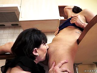 Nice Black Haired Nubile Engages In A Lezzie Romance With A Scorching Mature Gal
