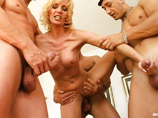 Silvya Is A Insane Blond, She Gets Trio Schlongs To Have Fun With Today