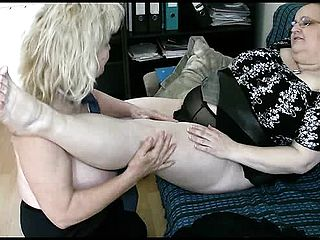 Two Thick Grannie Girl Girl With Large Bosoms Munch And Rub Getting Revved On