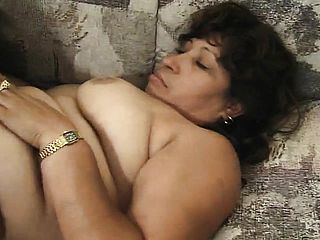 Thick Latina Grandma Estella Has 2 Folks Pumping Her Crevices And Deep Throats Them Off
