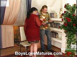 Chubby Mature Dame Seizes A Youthful Knob Directing It Into Her Jiggly Gash