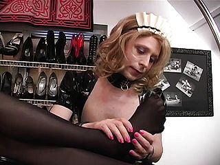 Cross-dressing Fuckslut Gets To Munch His Mistresss Classy Soles