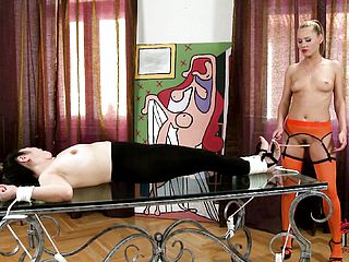 Gimp Gets Corded By Her Mistress, And Her Soles And Clips Them