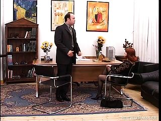 Mischievous Mature Woman In Ebony Pantyhose Getting Boned Rigid In The Office