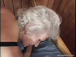 Silver-haired Granny Gets Her Coochie Romped By A Bony Teenager Youngster