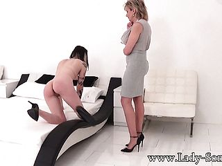 Harmless Youthful Dark Haired Gets A Night Of Restrain Bondage In Interchange For A Car Loan From Super Naughty Auntie Sonia