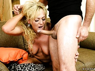 Huge Chested Blond Milf Has A Youthful Mans Firm Man Meat Making Her Gash Glad
