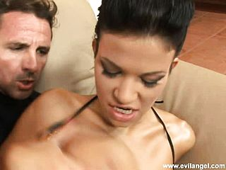Super Steamy Black Haired With Large All Natural Bumpers Enjoys To Get Her Butt Romped Tough