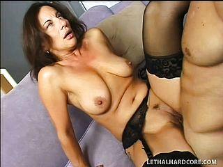 Mature stockings with hot ass sucks